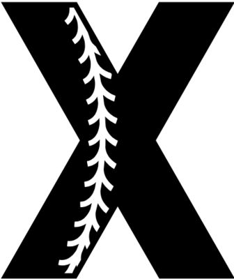 Baseball Alphabet X left